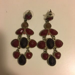 Jewelry - Garnet and Gold Statement Fashion Earrings